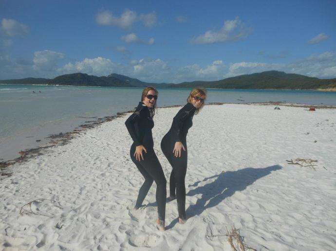 Joking around on Whitehaven beach (it was 6am and we'd had very little sleep!)
