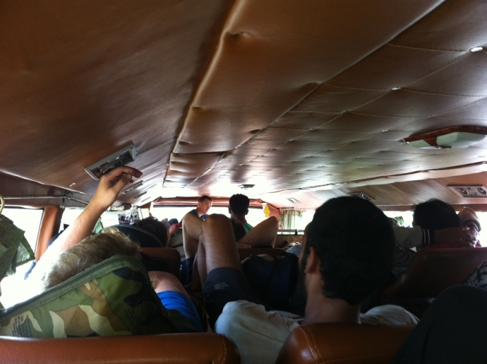 Claustraphobic sleeper bus in Cambodia