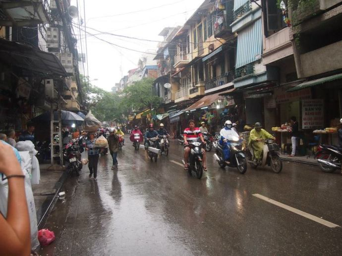 mopeds in the rain