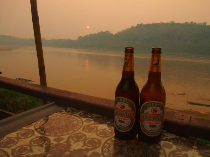 Sunset and Beer Lao